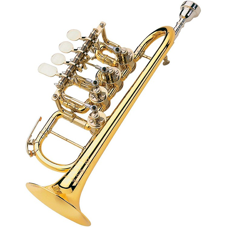 Scherzer Meister Johannes Rotary Valve Piccolo Trumpet 8111 - Gold Brass, Lacquer