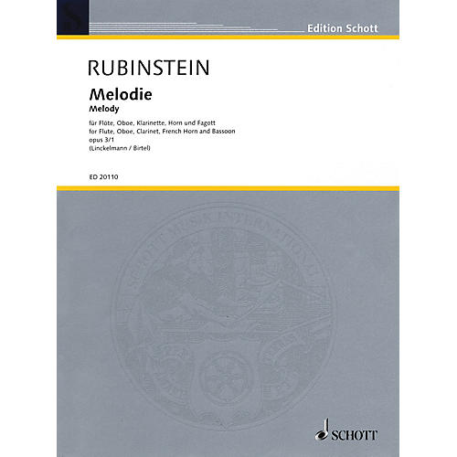 Schott Melody (for Woodwind Quintet) Misc Series by Anton Rubinstein Arranged by Joachim Linckelmann-thumbnail