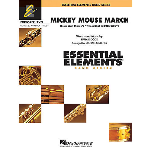 Hal Leonard Mickey Mouse March Concert Band Level 0.5 Arranged by Michael Sweeney-thumbnail