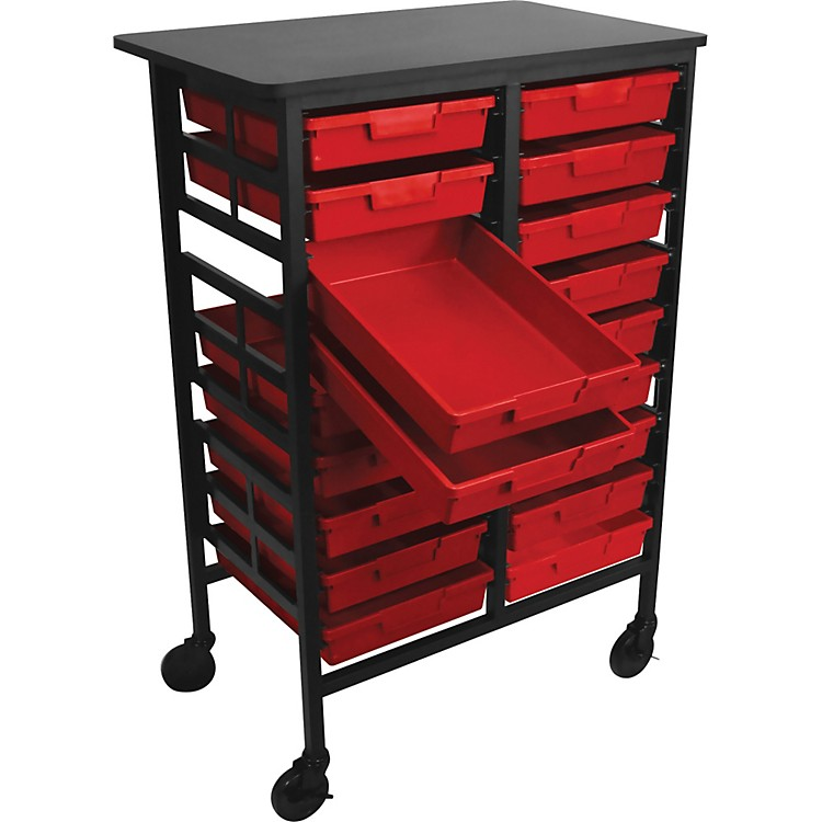 H. Wilson Mobile Work Center with 18 Single Storage Trays Red Trays 44.5