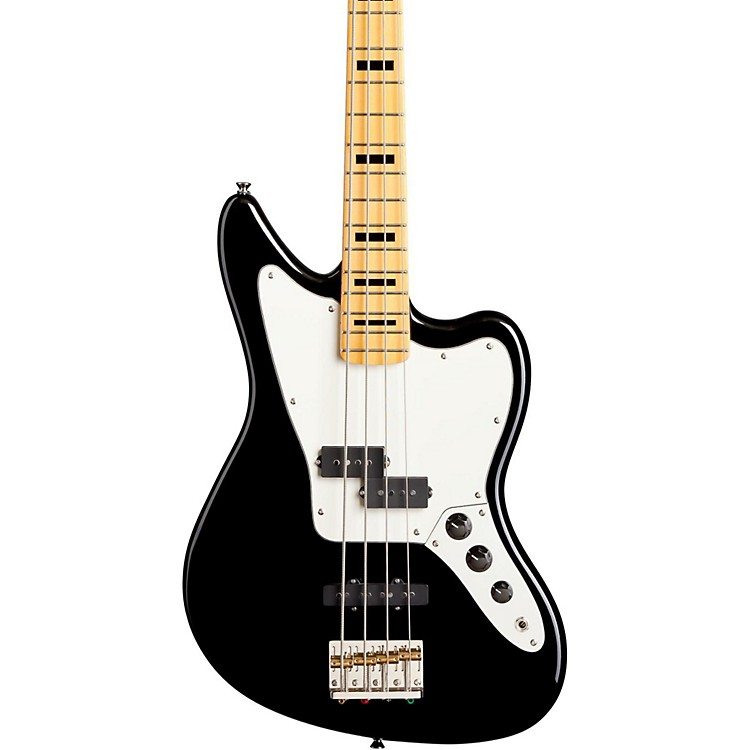 Fender Modern Player Jaguar Electric Bass Guitar Black Maple Fretboard