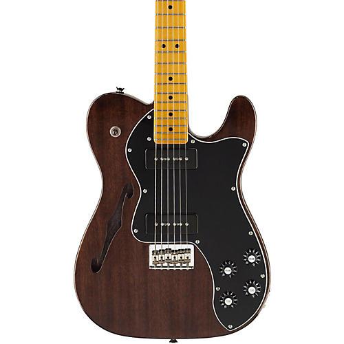 Fender Modern Player Telecaster Thinline Deluxe Electric Guitar Black Transparent Maple Fretboard