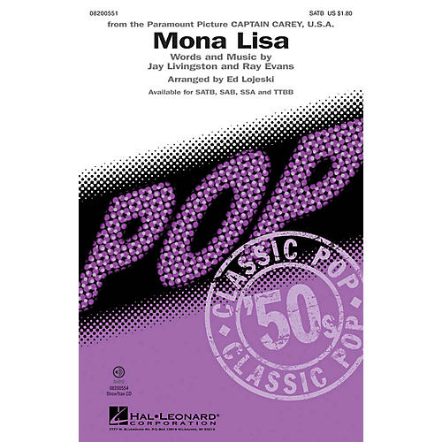 Hal Leonard Mona Lisa TTBB by Nat King Cole Arranged by Ed Lojeski-thumbnail