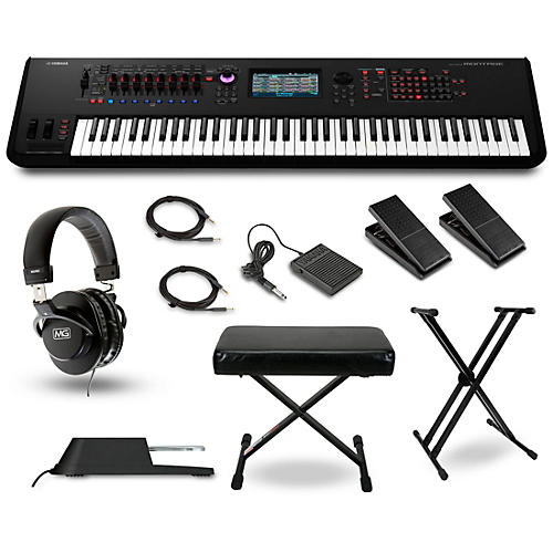Yamaha Montage 7 76-Key Synthesizer with Stand, Pedals, Deluxe Keyboard Bench, Cables and Headphones-thumbnail