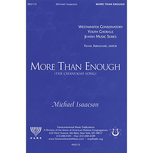 Transcontinental Music More Than Enough (The Chanukah Song) SATB composed by Michael Isaacson-thumbnail