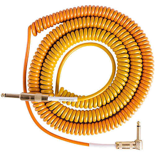 Lava Morph Coil Instrument Cable Straight to Right Angle Oranges, Reds, Yellow, Brown 25 ft.