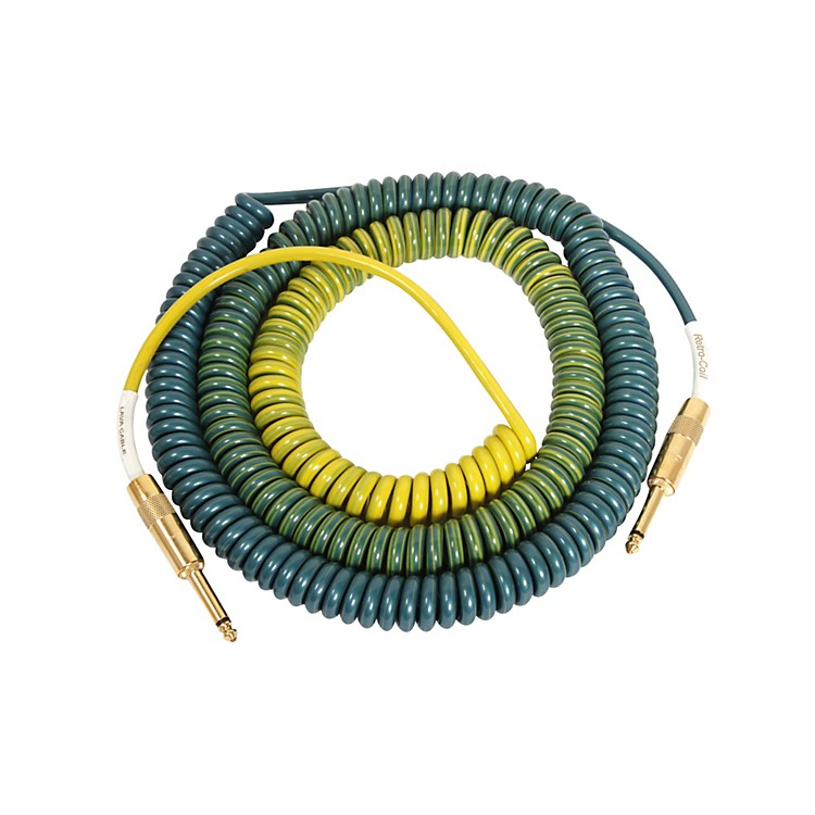 LavaMorph Coil Instrument Cable Straight to StraightGreens, Blues, Lime, Yellow25 Foot