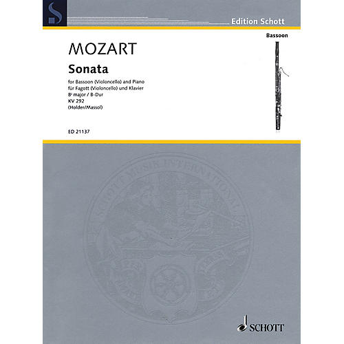 Schott Mozart - Sonata for Bassoon (Violoncello) and Piano in B-flat Major, K. 292 Edited by Albrecht Holder-thumbnail