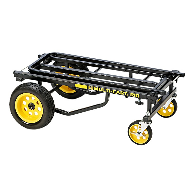 Rock N Roller Multi-Cart 8-in-1 Equipment Transporter Cart Black Frame/Yellow Wheels Max