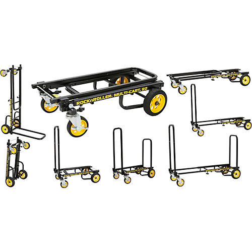 Rock N Roller Multi-Cart 8-in-1 Micro Equipment Transporter Cart Black Frame/Yellow Wheels Micro