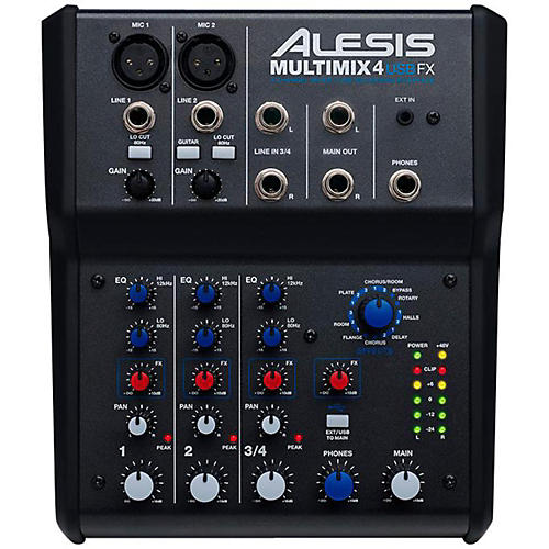 alesis multimix 4 usb fx 4 channel mixer with effects usb audio interface musician 39 s friend. Black Bedroom Furniture Sets. Home Design Ideas