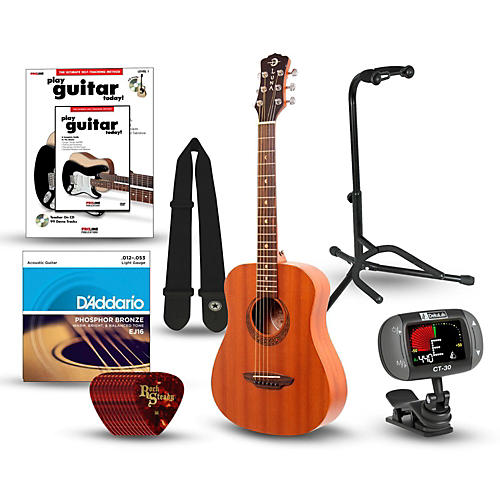 Luna Guitars Muse Safari Series Mahogany 3/4 Dreadnought Travel Acoustic Guitar Bundle-thumbnail