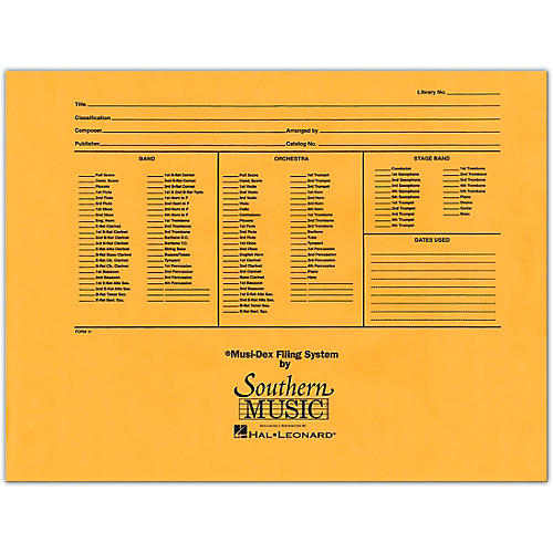 Southern Musidex Band/Orchestra Concert Size Filing Envelope Concert Band-thumbnail