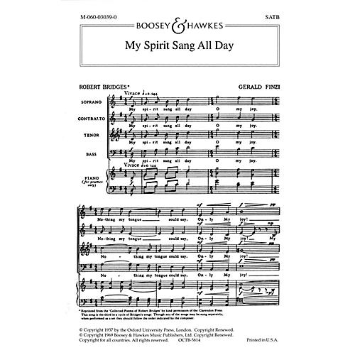 Boosey and Hawkes My Spirit Sang All Day (No. 3 from Seven Poems of Robert Bridges) SATB a cappella by Gerald Finzi-thumbnail