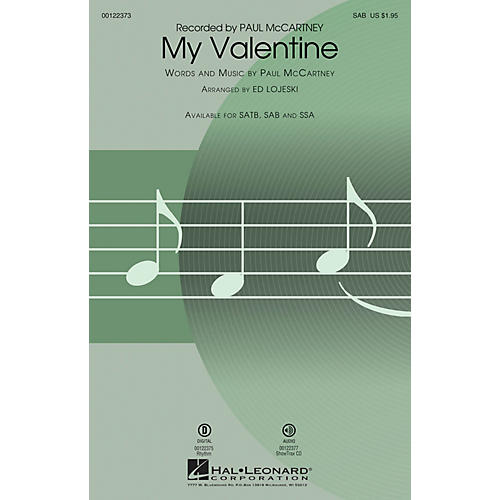 Hal Leonard My Valentine SAB arranged by Ed Lojeski-thumbnail