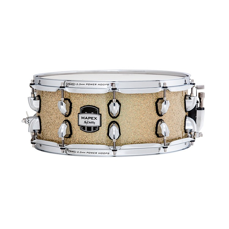 Mapex MyDentity Maple Snare Drum Chrome on Gamma Gold Multi-Sparkle 14x16 Inch