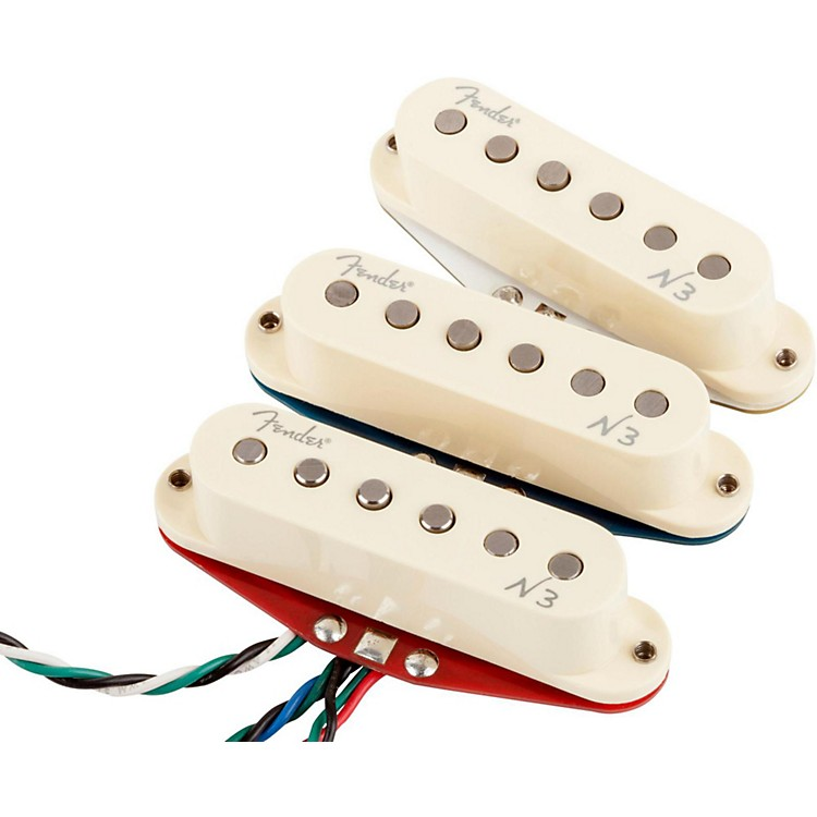 Fender N3 Noiseless Stratocaster Pickups Set of 3 White Covers