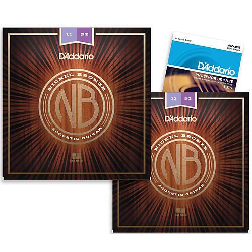 d 39 addario nb1152 nickel bronze custom light acoustic strings 2 pack with ej16 phosphor bronze. Black Bedroom Furniture Sets. Home Design Ideas