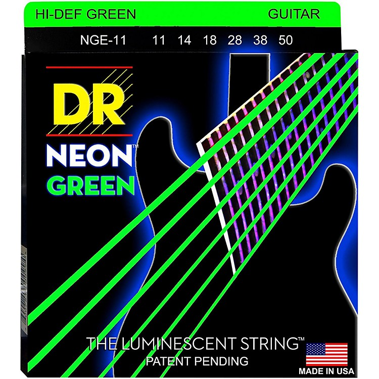 DR Strings NEON Hi-Def Green SuperStrings Heavy Electric Guitar Strings