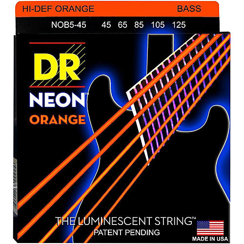 DR Strings NEON Hi-Def Orange Bass SuperStrings Medium 5-String