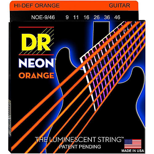 DR Strings NEON Hi-Def Orange SuperStrings Light Top Heavy Bottom Electric Guitar Strings