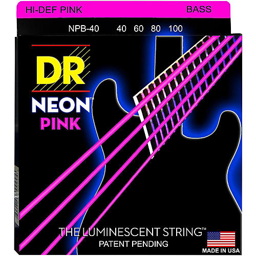 DR Strings NEON Hi-Def Pink Bass SuperStrings Light 4 String