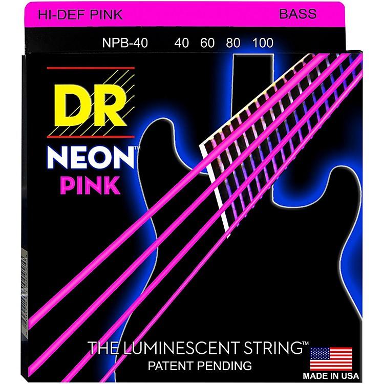DR StringsNEON Hi-Def Pink Bass SuperStrings Light 4 String