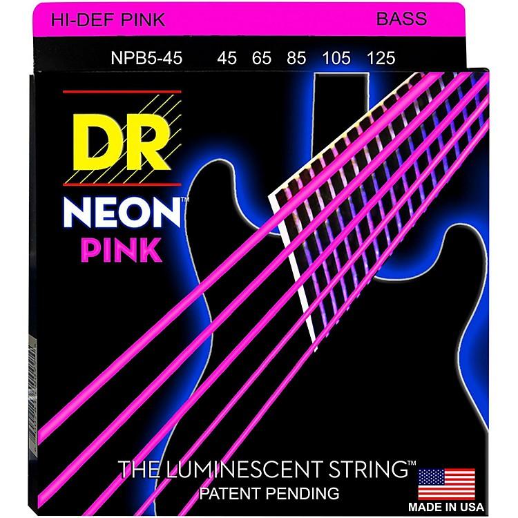 DR StringsNEON Hi-Def Pink Bass SuperStrings Medium 5-String