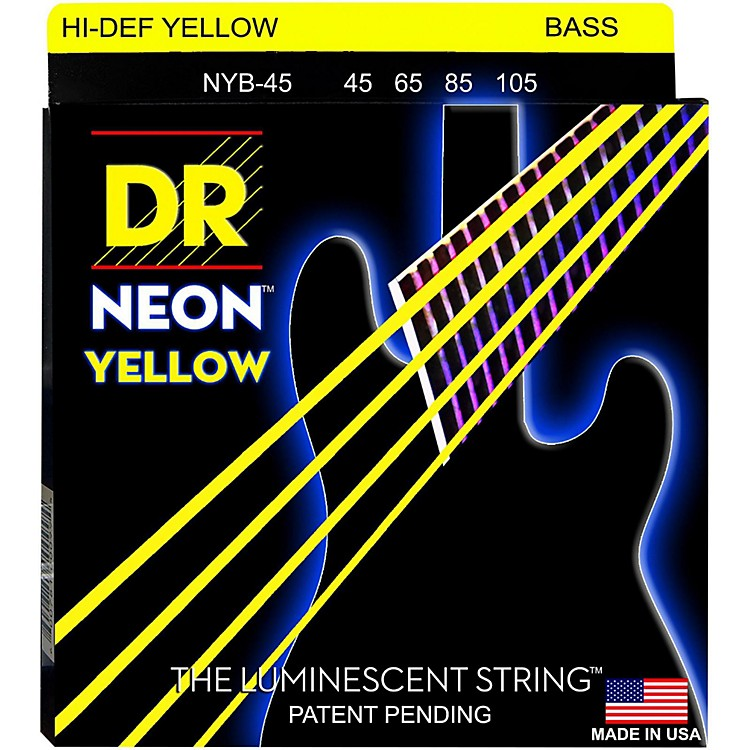 DR Strings NEON Hi-Def Yellow Bass SuperStrings Medium 4-String