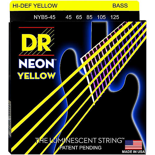 DR Strings NEON Hi-Def Yellow Bass SuperStrings Medium 5-String