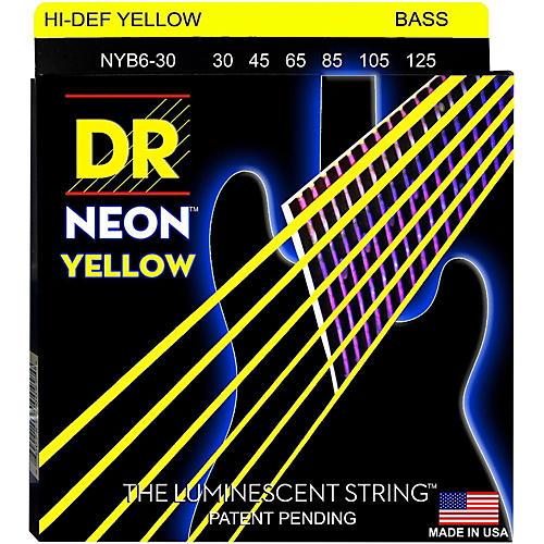 DR Strings NEON Hi-Def Yellow Bass SuperStrings Medium 6-String-thumbnail