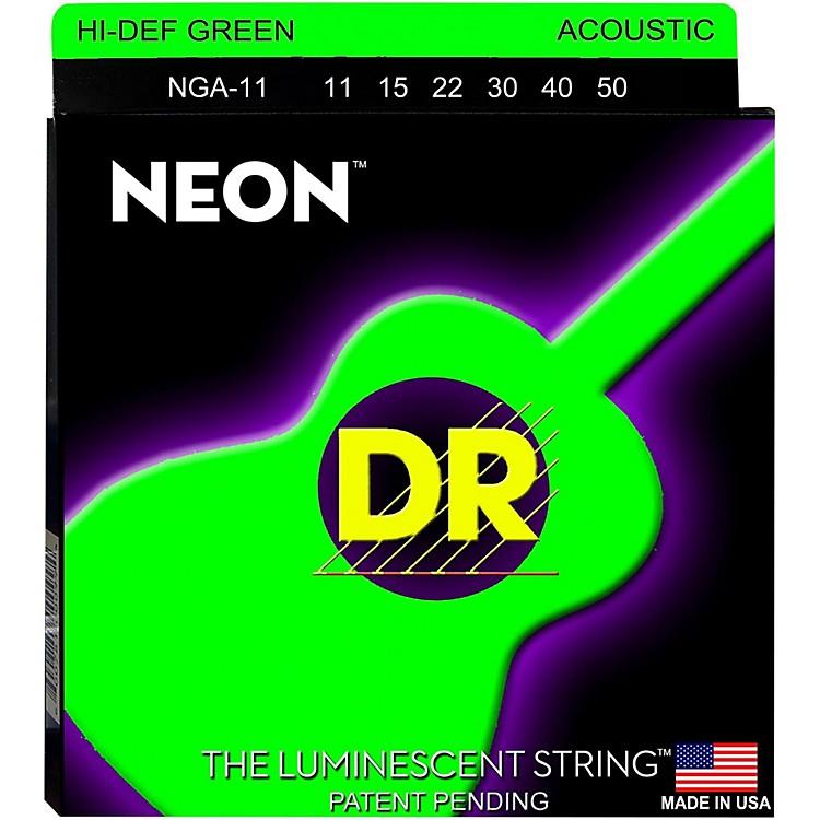 DR StringsNGA-11 NEON Hi-Def Phosphorescent Green Acoustic Strings Medium-Light