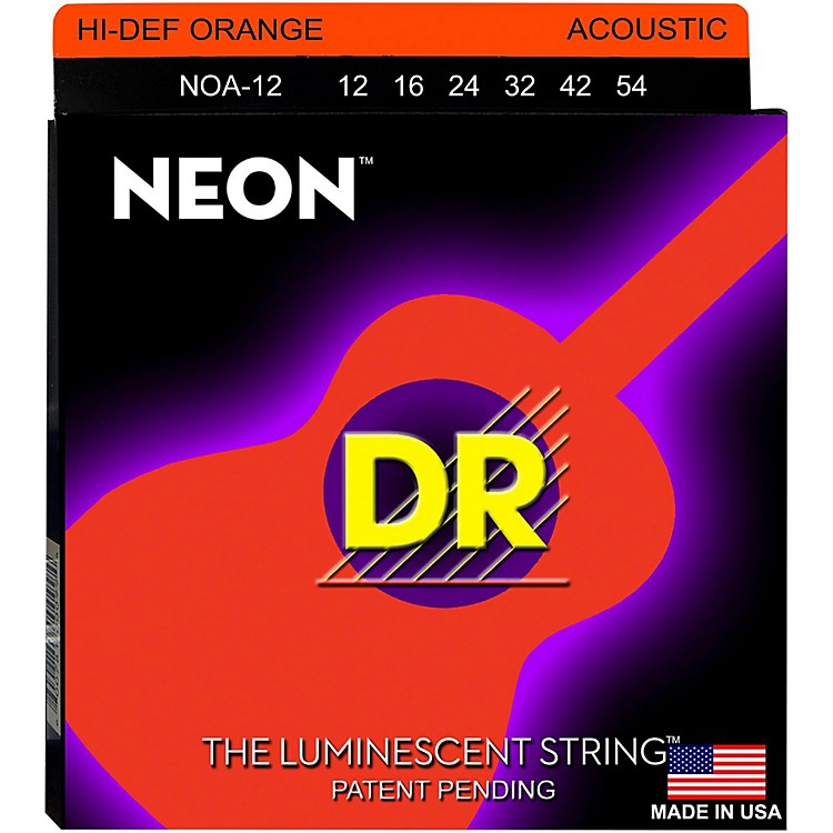 DR Strings NOA-12 NEON Hi-Def Phosphorescent Orange Acoustic Strings Medium