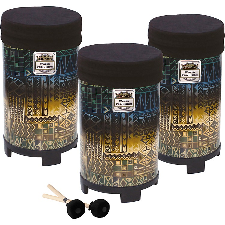 Remo NSL Short Tubano Set of 10, 12, 14 inch with Volume Control Caps and Mallets
