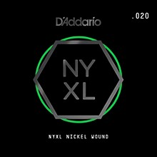 D'Addario NYNW020 NYXL Nickel Wound Electric Guitar Single String, .020