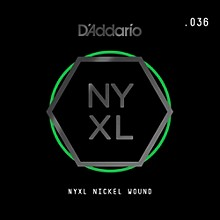 D'Addario NYNW036 NYXL Nickel Wound Electric Guitar Single String, .036