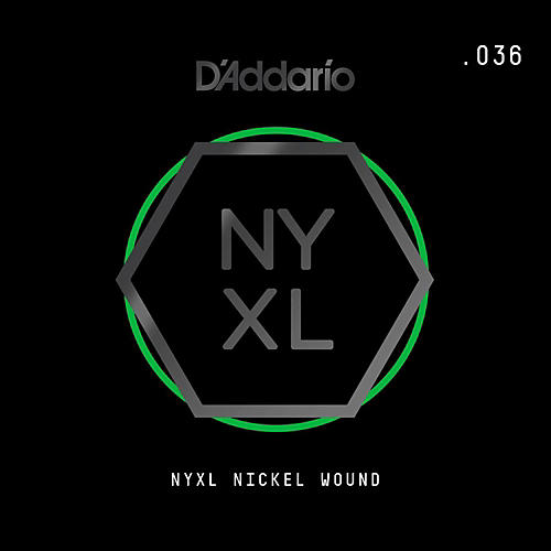 D'Addario NYNW036 NYXL Nickel Wound Electric Guitar Single String, .036-thumbnail