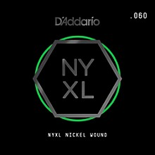 D'Addario NYNW060 NYXL Nickel Wound Electric Guitar Single String, .060