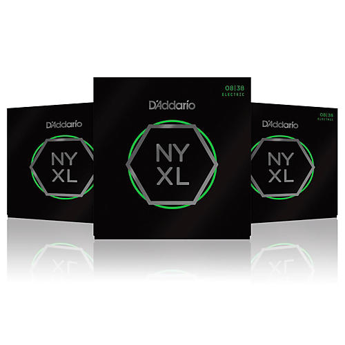 D'Addario NYXL Nickel Wound Extra Super Light Electric Guitar Strings (8-38) 3-Pack
