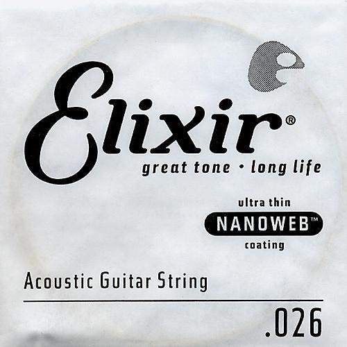 Elixir Nanoweb .026 Acoustic Guitar String 4-Pack Singles
