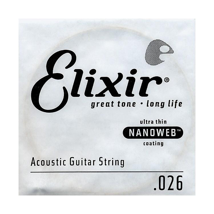 ElixirNanoweb .026 Acoustic Guitar String 4-Pack Singles