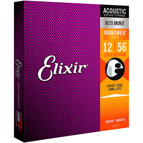 Elixir Nanoweb Light Medium Acoustic Guitar Strings
