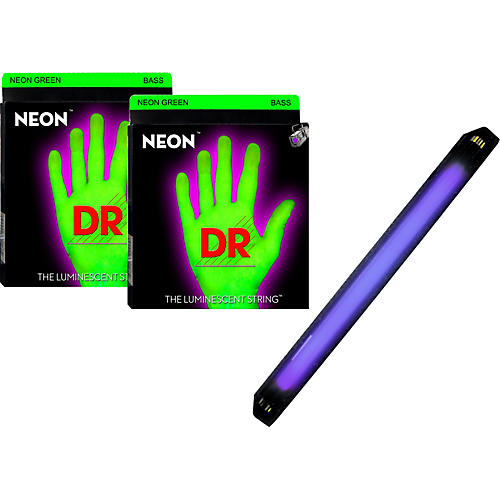 DR Strings Neon Phosphorescent Green Medium 5 String Bass Strings with Free American DJ Super Black Light