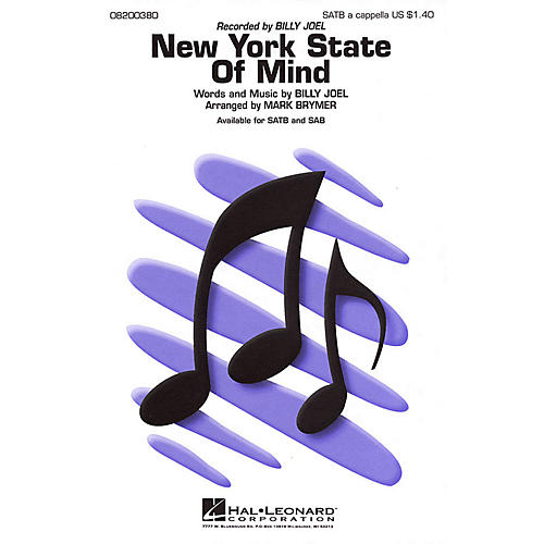 Hal Leonard New York State of Mind SATB a cappella by Billy Joel arranged by Mark Brymer-thumbnail