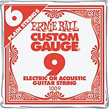 Ernie Ball Nickel Plain Single Guitar String .009 Gauge 6-Pack