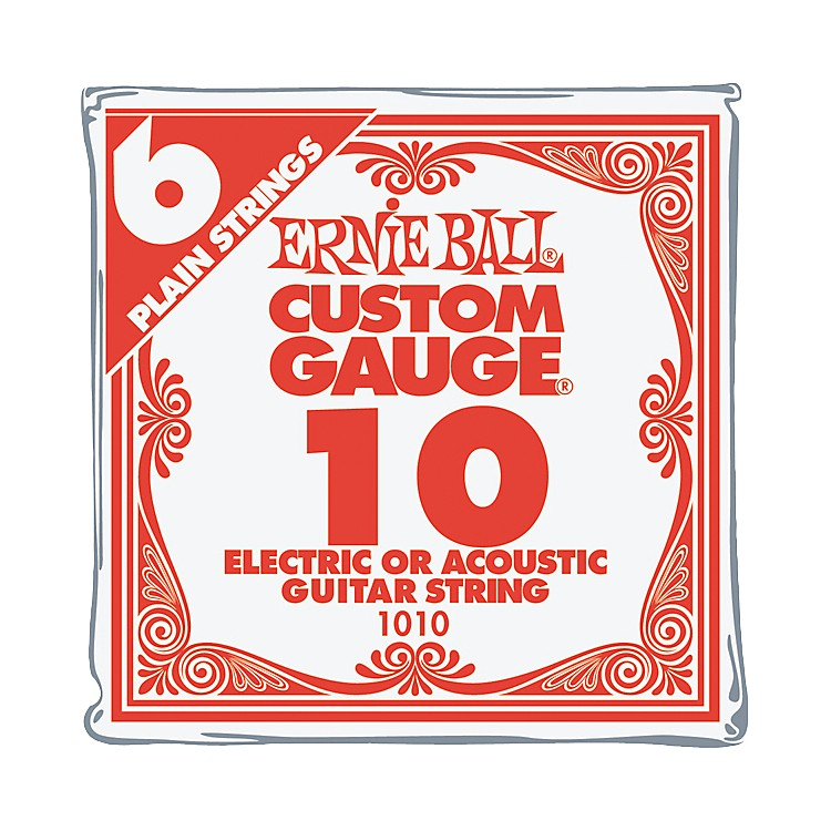 Ernie Ball Nickel Plain Single Guitar String .010 6-Pack