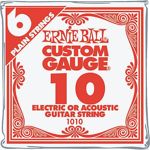 Ernie Ball Nickel Plain Single Guitar String .010 Gauge 6-Pack
