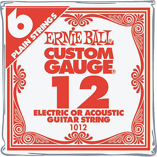 Ernie Ball Nickel Plain Single Guitar String .012 Gauge 6-Pack
