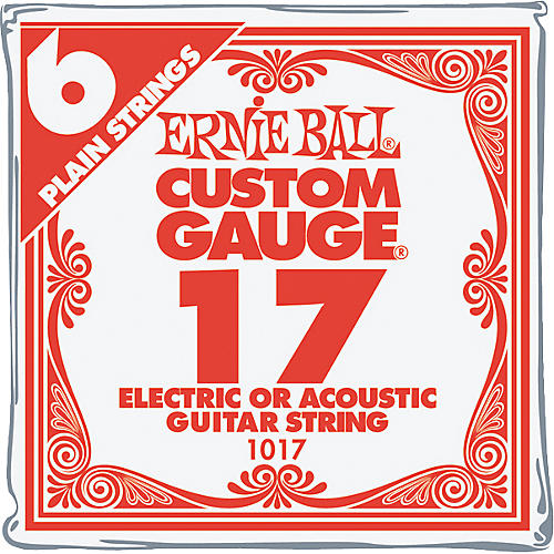 Ernie Ball Nickel Plain Single Guitar String .017 Gauge 6-Pack