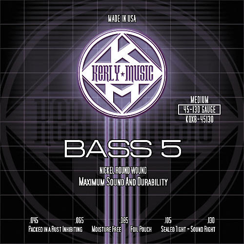 Kerly Music Nickel Plated 5-String Bass Strings Medium